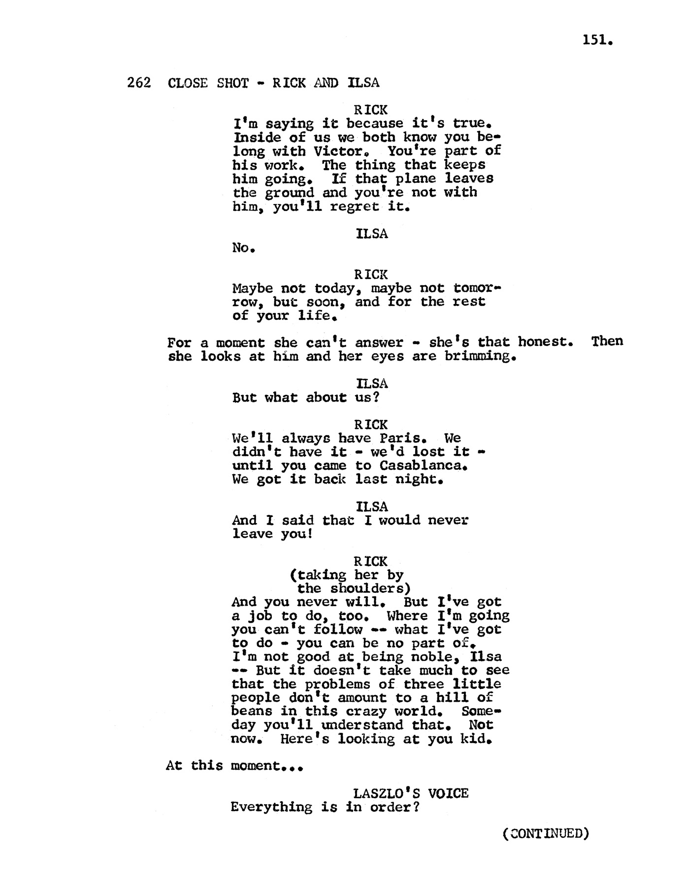 camera script template - casablanca