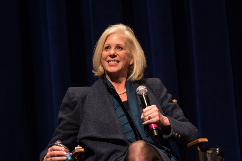 Callie Khouri takes questions from the audience at the WGAW's <em>Thelma & Louise</em> 25th anniversary event.